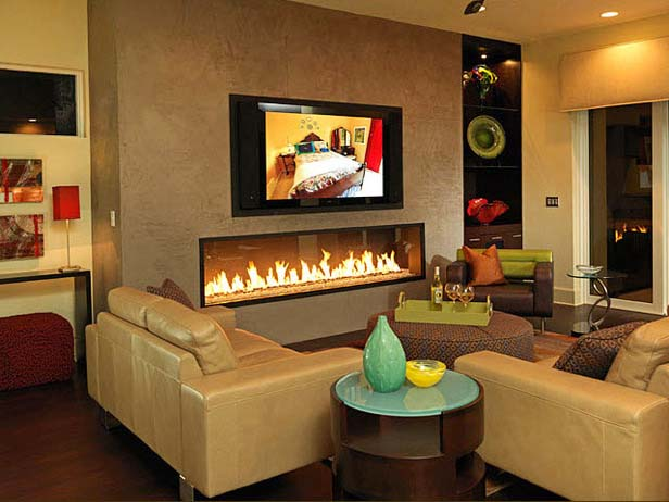 Modest TV and Fireplace