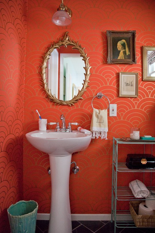 Bold Red Orange Colored Wallpaper Bathroom