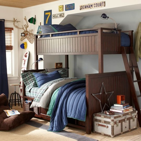 Dark Wood Bunk Bed with Drawers