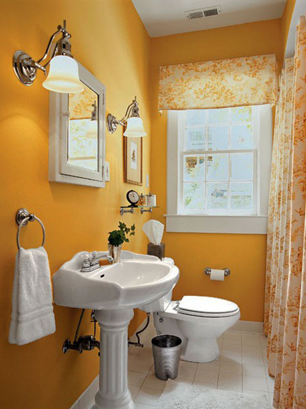 Orange Colored Small Bathroom