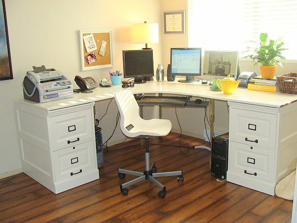 White Office Desk in the Corner