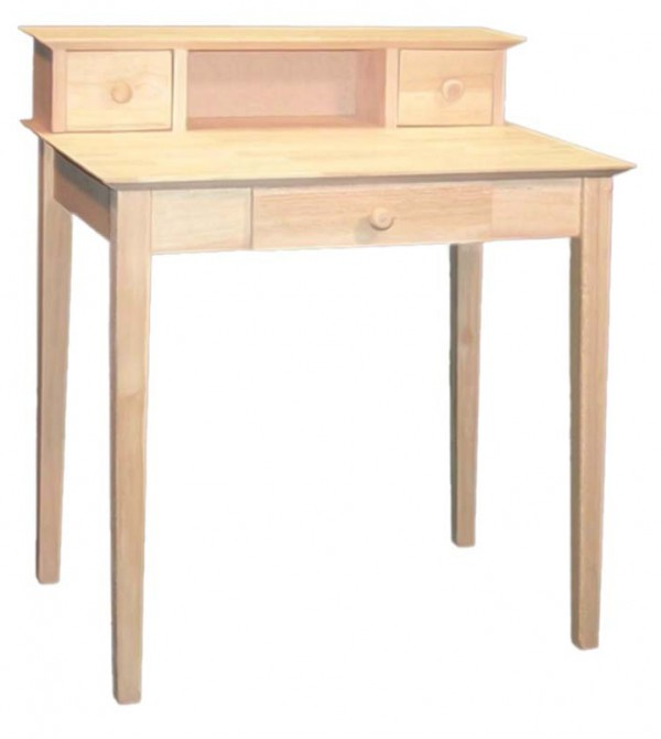 Long Unpainted Wood Desk