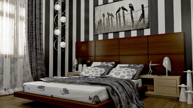 Gray and White Vertical Stripe Bedroom