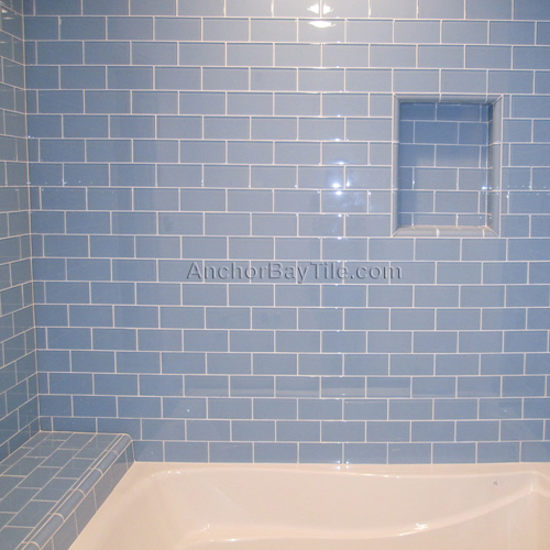 Blue colored Glass Type Subway Tile