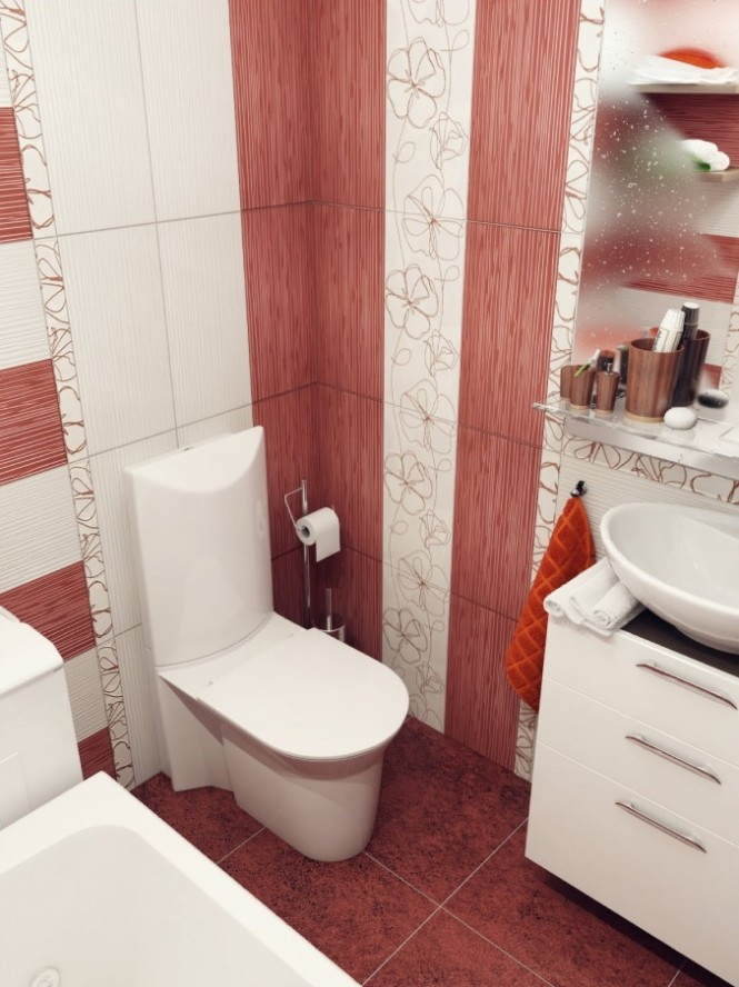 Red And White Bathroom Vertical Stripe Design