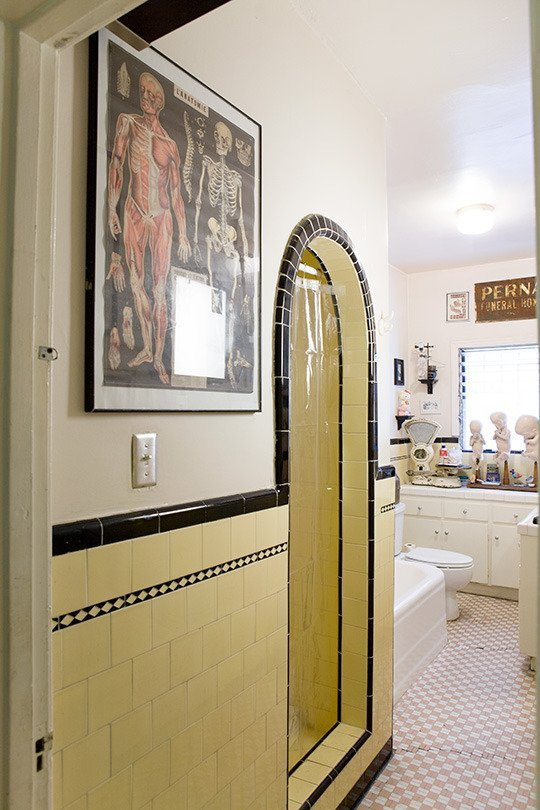 Yellow and Black Colored Tiles Bathroom