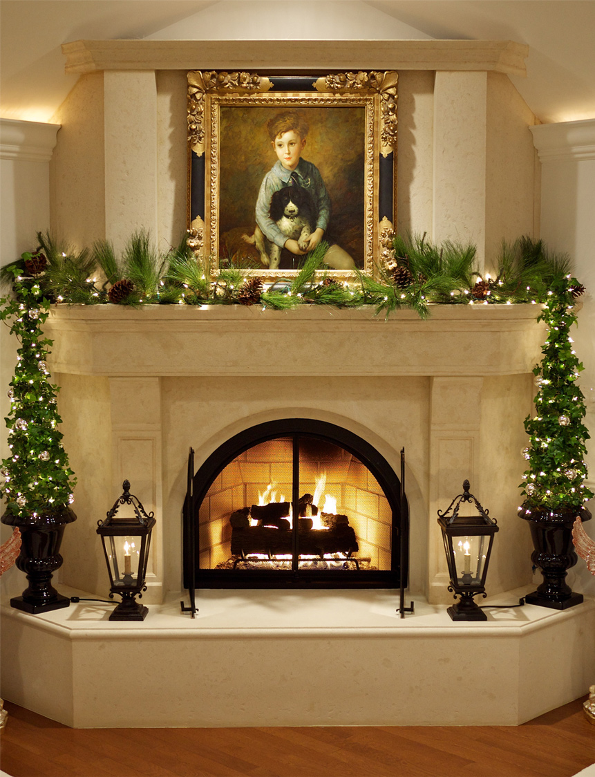 Elegant Fireplace with Small Christmas Tree