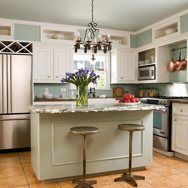 Kitchen design i shape india for small space layout white for Small kitchen island designs