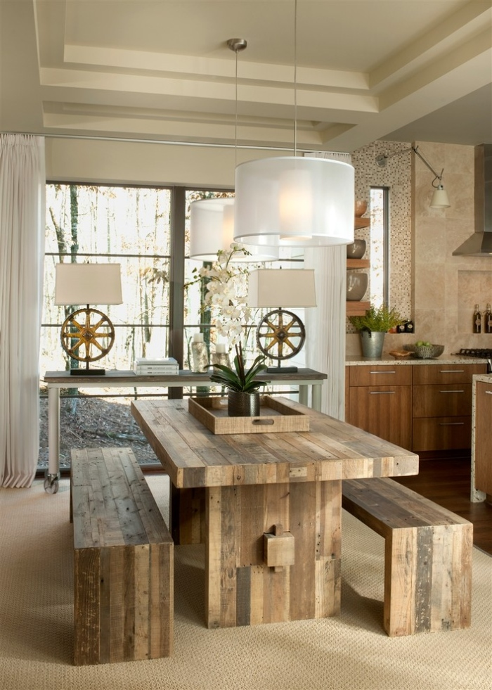 White-and-grey-wooden-dining-room-with-unpolished-brazen-dining-table