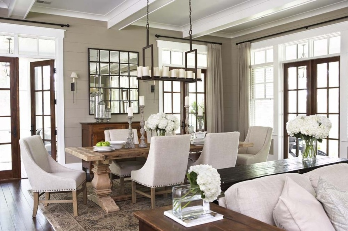 White-and-grey-wooden-dining-room-with-unpolished-rectangular-wooden-table