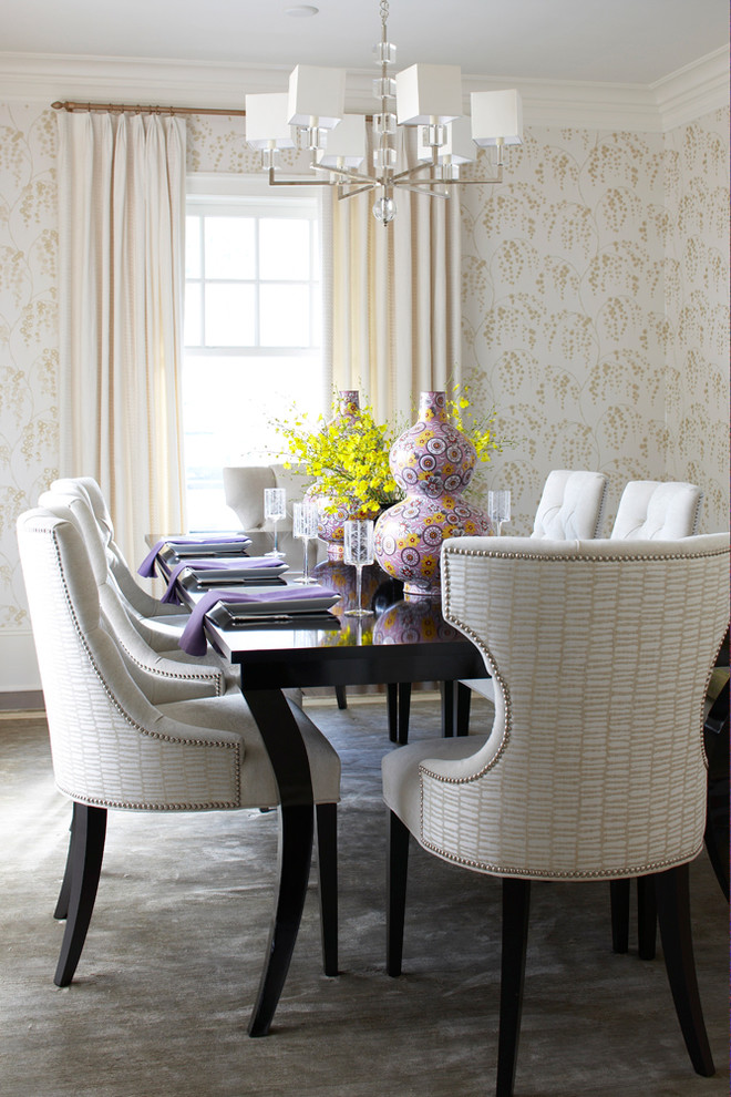 Beach-Style-Dining-Room-with-white-wicker-dining-chairs