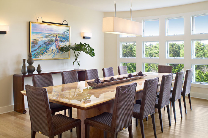 Beach-Style-Dining-Room-with-a-polished-rectangular-wooden-top-dining-table-idea