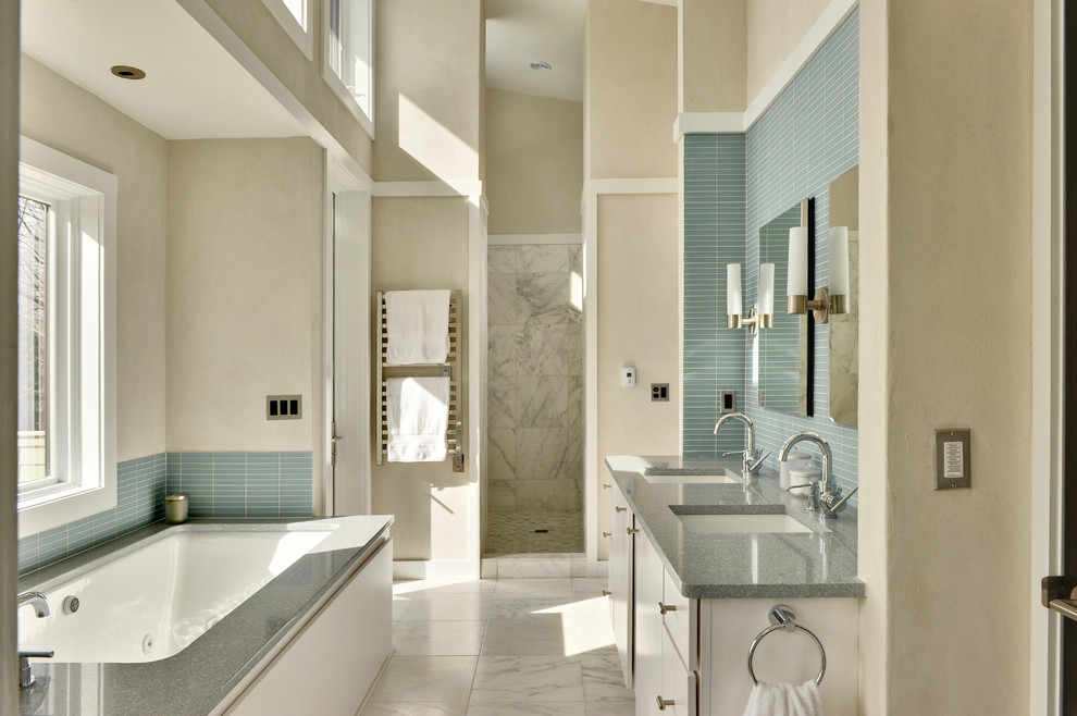 Contemporary Cream White And Blue Bathroom