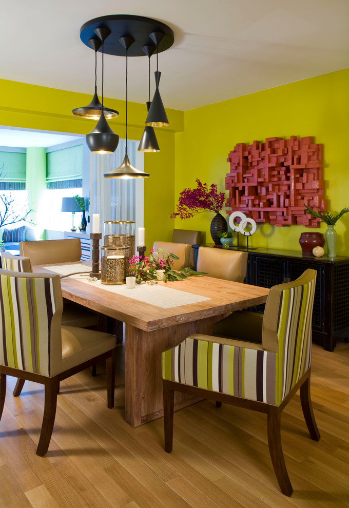 Contemporary-dining-room-with-yellow-green-wall-design-idea