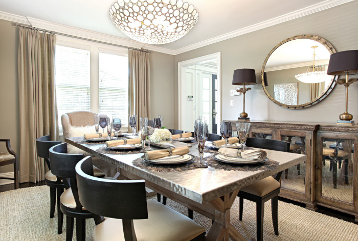 Contemporary-dining-room-with-a-satin-cover-on-the-rectangular-dining-table-top-idea