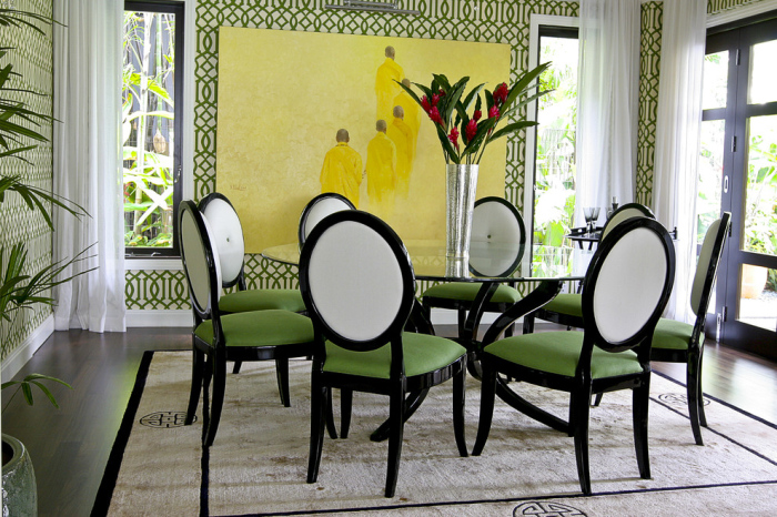 Modern-dining-room-with-green-seat-of-the-chair-design-idea
