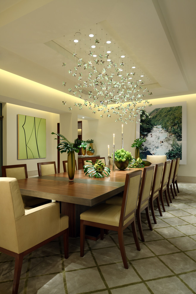 Modern-dining-Room-with-a-green-coloured-board-and-flowers-design-idea