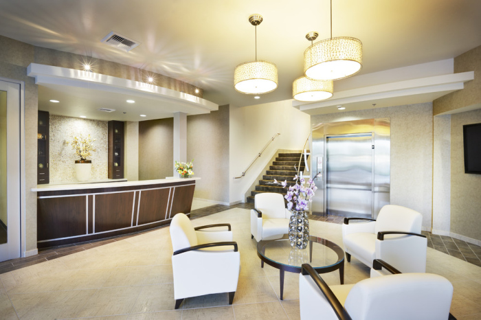 Contemporary-entry-with-a-backsplash-office-wallpaper-in-the-lobby