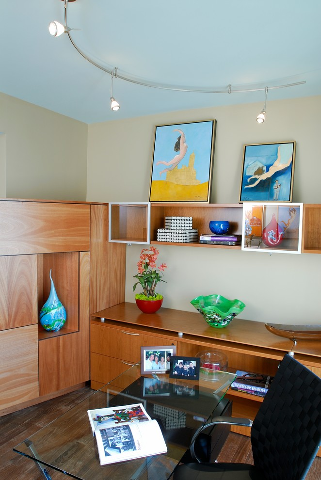 Cream-blue-home-office-with-wooden-tables-cupboards-and-racks