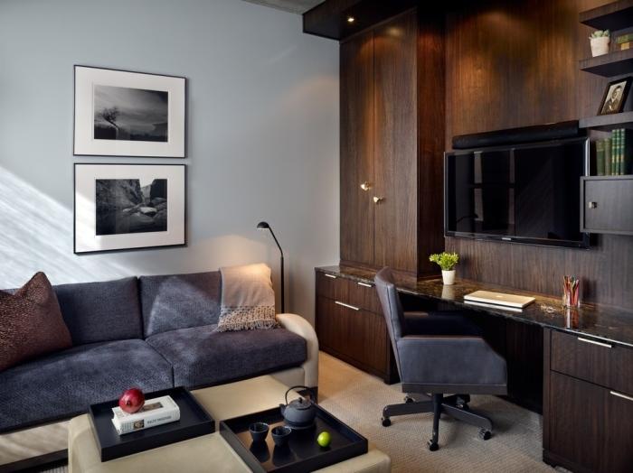 Cozy-plush-office-set-up-with-the-rick-dark-hardwood-furnishing