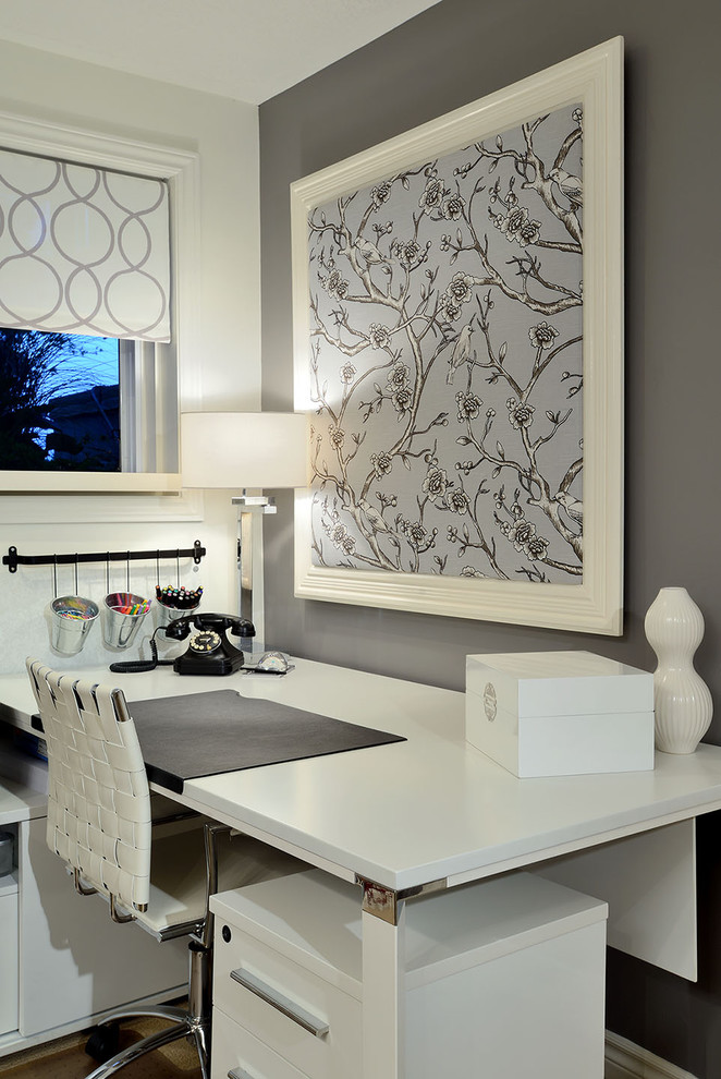 white grey wooden contemporary home office