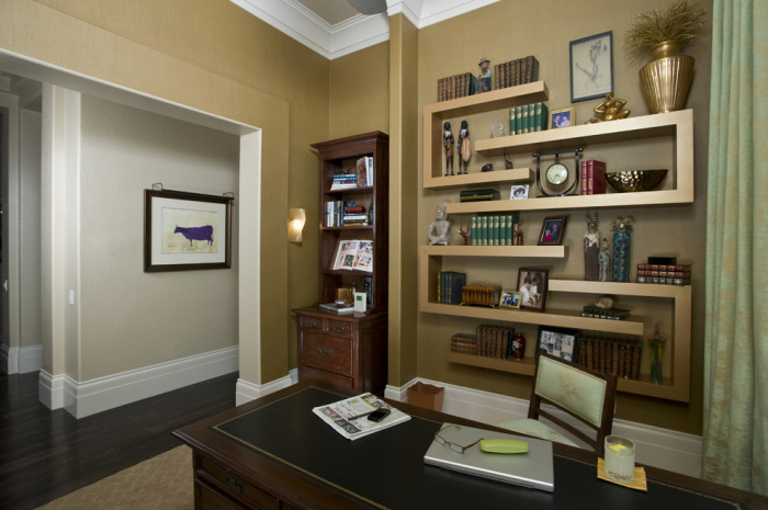 Contemporary-Home-Office-image-idea-with-white-and-dull-coloured-wall