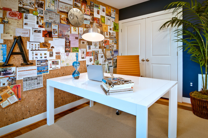 Contemporary-home-office-with-a-big-cork-board-idea-for-office-made-up-of-mosaic