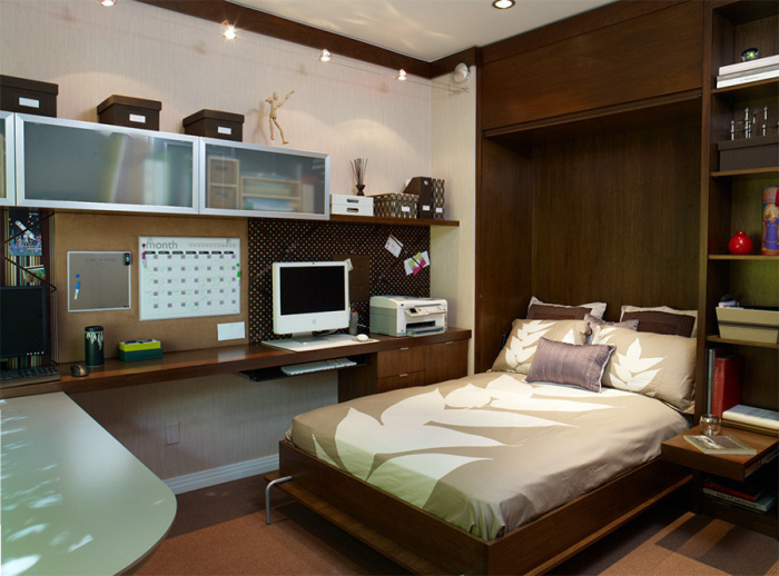 White-and-dark-wooden-modern-Home-Office-with-an-office-wooden-bed-idea