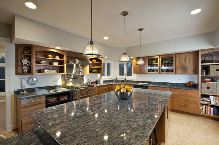 Contemporary-Kitchen-with-grey-granite-top-kitchen-table-idea