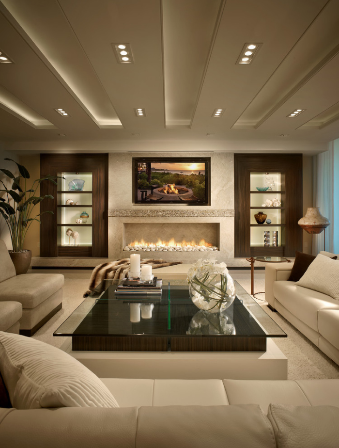 Contemporary-Living-Room With A Glass coffee Table