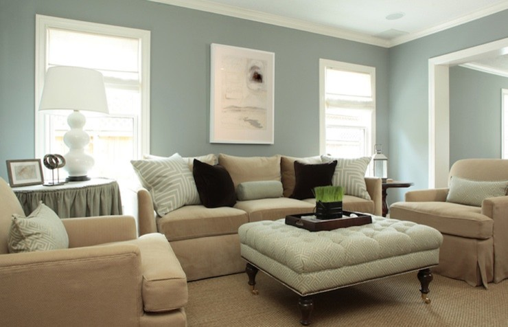 living room with the wall painted in dusty blue green