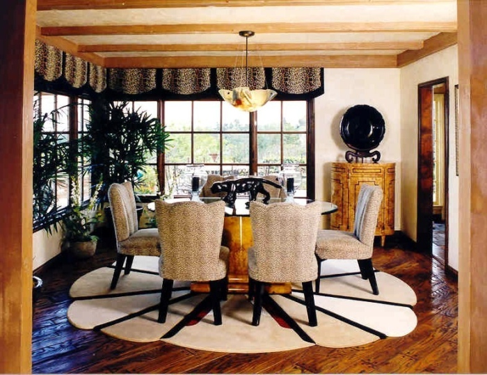 white-black-and-brown-dining-room-with-the-round-dining-table