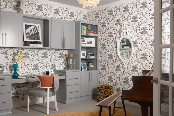 Eclectic-Home-Office-with-a-modern-grey-and-white-floral-wallpaper-design