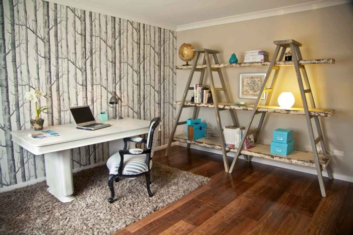 Eclectic-home-office-with-a-grey-trunk-shaped-wall-paper-design
