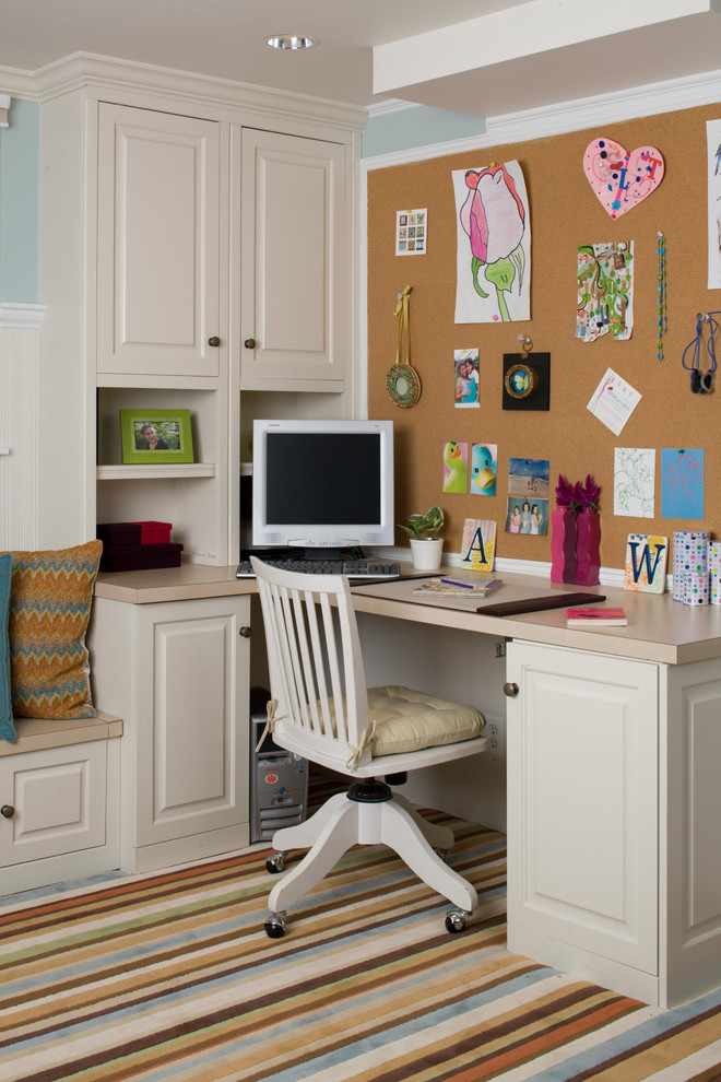 kids studying room with a mosaic wall cork board idea for office