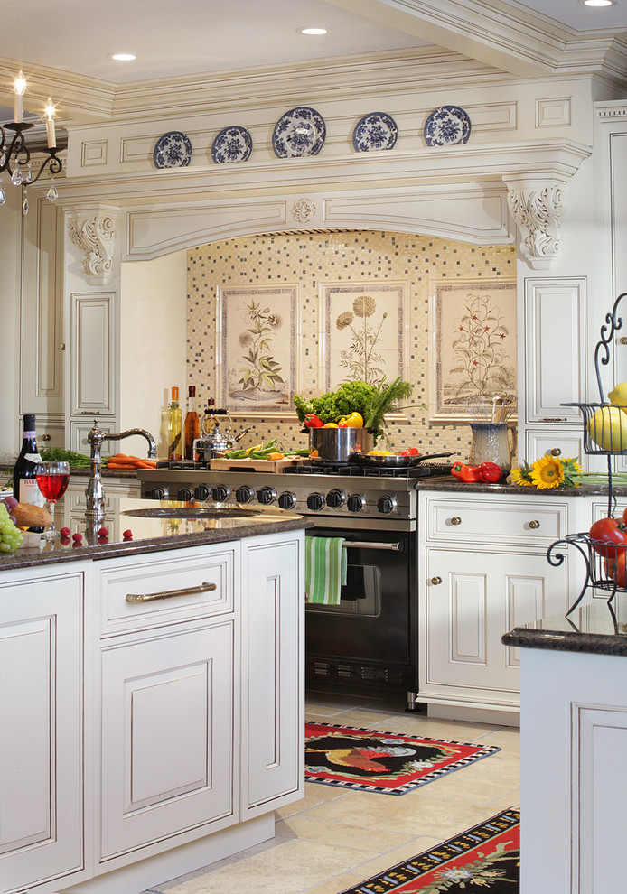 Elegant Sophisticated French country kitchen with Custom Hood,