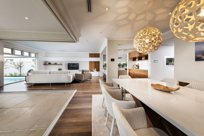 White-contemporary-dining-interior-Romano-crescent-residence-with-cool-coastal-setting-in-Etesian-Australia