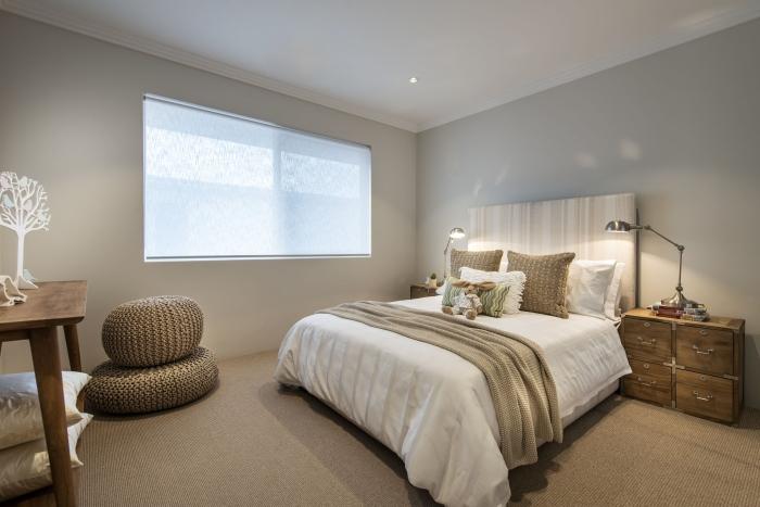 Modern-bedrooom-interior-Romano-crescent-residence-with-cool-coastal-setting-in-Etesian,Australia