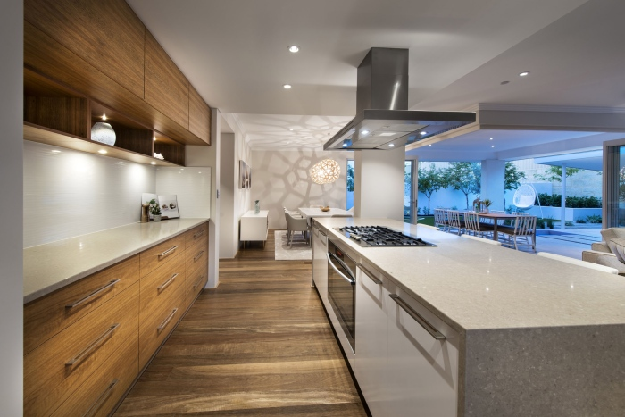 Modern-dining-and-kitchen-interior-Romano-crescent-residence-with-cool-coastal-setting-in-Etesian-Australia