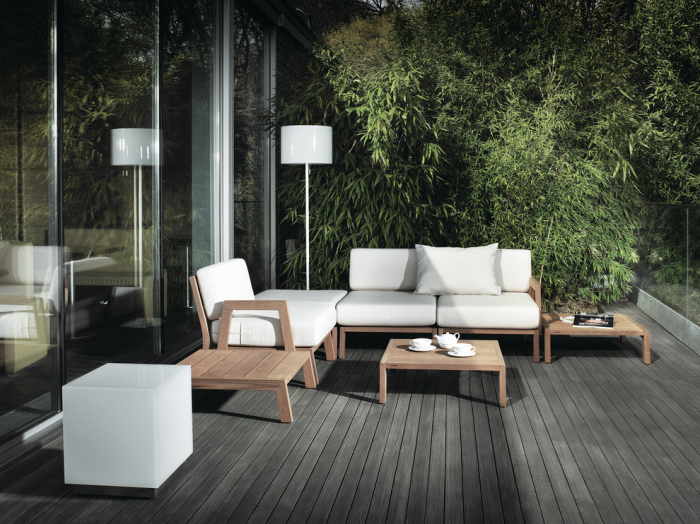 Patio with the little broad wooden tables are stylish and classy