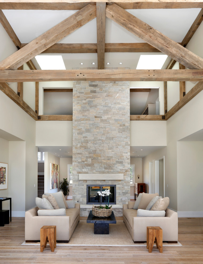 Farmhouse-Living-Room-with-Pyramid-shaped-wooden-ceiling-office-lobby-decorating-idea