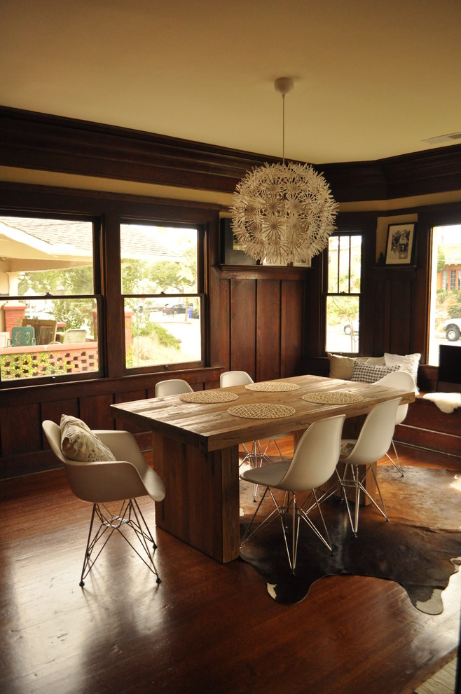Cream-dark-wooden-dining-room-with-unpolished-rectangular-wooden-table