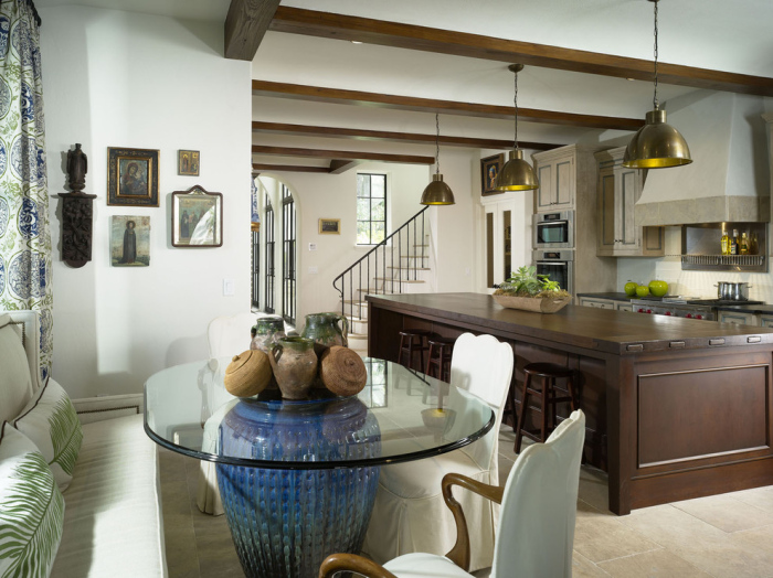 Mediterranean-Kitchen-with-a-small-oval-glass-top-dining-table-idea