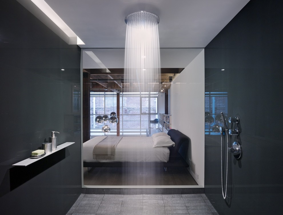 black and white shower room