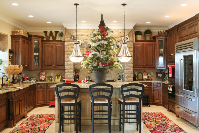Pretty French Country kitchen decorated for Christmas""