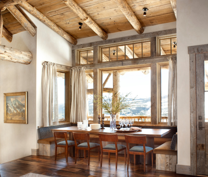 Rustic-dining-room-with-a-low-rectangular-wooden-dining-table-for-wooden-seater-chairs-idea-with-two-benches