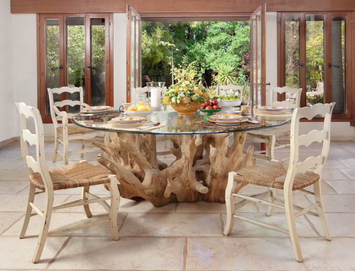 Dining space with a unique woodsy feel