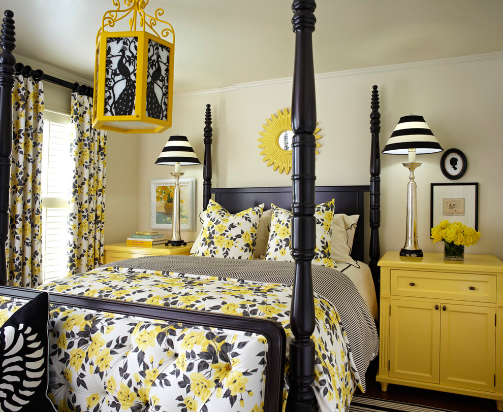Black,White And Yellow Bedroom Ideas