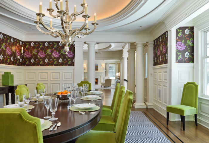 Traditional-dining-room-with-green-dining-chairs-design-idea