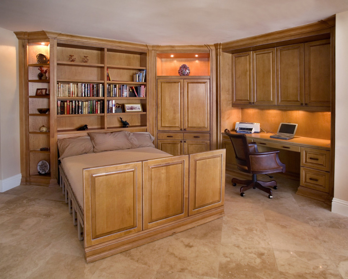 Traditional-Home-Office-with-an-office-wooden-bed-idea